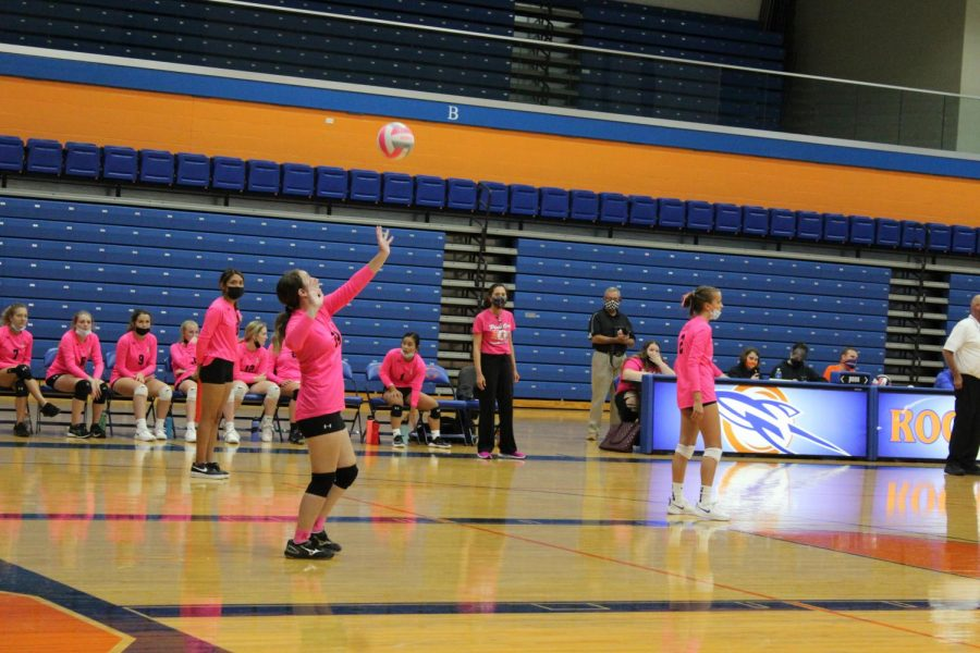 Lady Rocket Volleyball Wears Pink for October